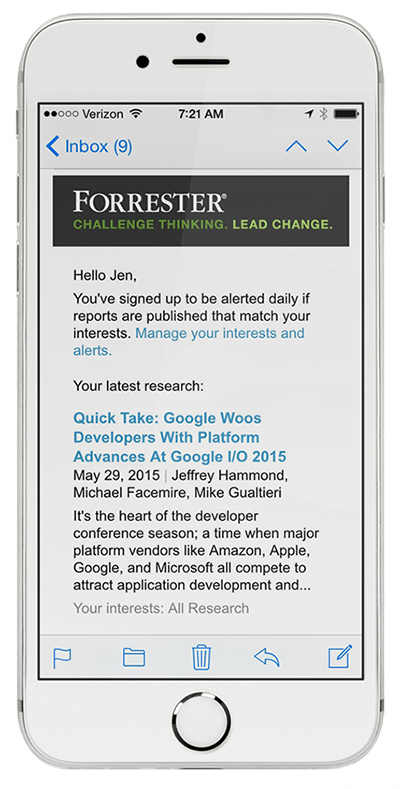 email alerts on a mobile device