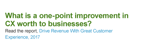 What is a one-point improvement in CX is worth to businesses? Read the report: Drive Revenue With Great Customer Experience, 2017